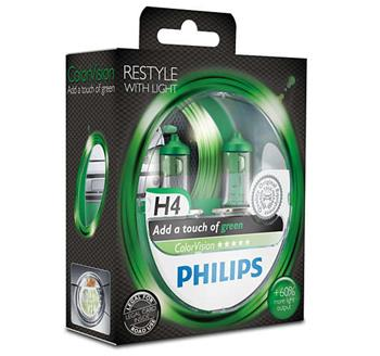 PHILIPS H4 ColorVision Green 2 ks